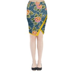 Floral Fantsy Pattern Midi Wrap Pencil Skirt by DanaeStudio
