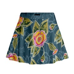 Floral Fantsy Pattern Mini Flare Skirt by DanaeStudio