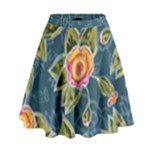 Floral Fantsy Pattern High Waist Skirt
