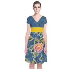 Floral Fantsy Pattern Short Sleeve Front Wrap Dress