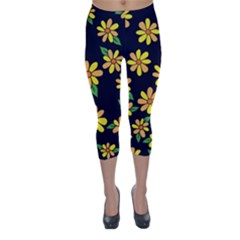 Daisy Flower Pattern For Summer Capri Winter Leggings