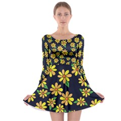 Daisy Flower Pattern For Summer Long Sleeve Skater Dress
