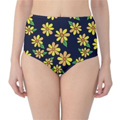 Daisy Flower Pattern For Summer High Waist Bikini Bottoms