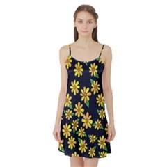 Daisy Flower Pattern For Summer Satin Night Slip