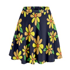 Daisy Flower Pattern For Summer High Waist Skirt