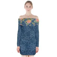 Blue Floral Pattern Long Sleeve Off Shoulder Dress