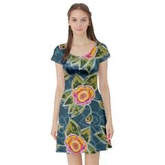 Floral Fantsy Pattern Short Sleeve Skater Dress by DanaeStudio