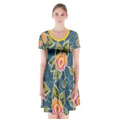 Floral Fantsy Pattern Short Sleeve V Neck Flare Dress by DanaeStudio