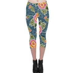 Floral Fantsy Pattern Capri Leggings
