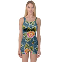 Floral Fantsy Pattern One Piece Boyleg Swimsuit by DanaeStudio