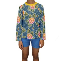 Floral Fantsy Pattern Kids  Long Sleeve Swimwear by DanaeStudio