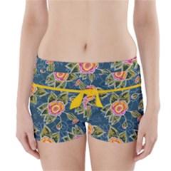 Floral Fantsy Pattern Boyleg Bikini Wrap Bottoms by DanaeStudio