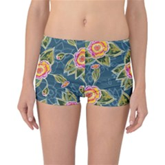 Floral Fantsy Pattern Reversible Boyleg Bikini Bottoms by DanaeStudio