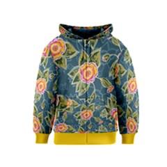 Floral Fantsy Pattern Kids  Zipper Hoodie by DanaeStudio