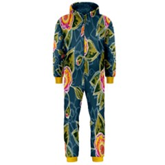 Floral Fantsy Pattern Hooded Jumpsuit (men) by DanaeStudio