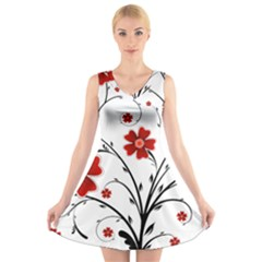 Flower Vector Art V-Neck Sleeveless Skater Dress by Zeze
