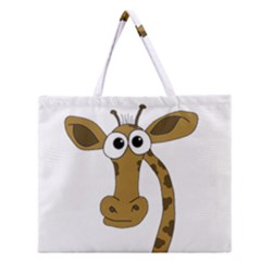 Giraffe  Zipper Large Tote Bag by Valentinaart