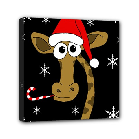 Christmas Giraffe Mini Canvas 6  X 6  by Valentinaart