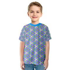 Colorful Retro Geometric Pattern Kids  Sport Mesh Tee by DanaeStudio