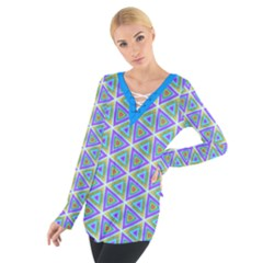 Colorful Retro Geometric Pattern Women s Tie Up Tee by DanaeStudio