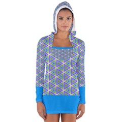 Colorful Retro Geometric Pattern Women s Long Sleeve Hooded T Shirt by DanaeStudio