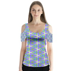 Colorful Retro Geometric Pattern Butterfly Sleeve Cutout Tee  by DanaeStudio