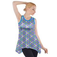 Colorful Retro Geometric Pattern Side Drop Tank Tunic by DanaeStudio