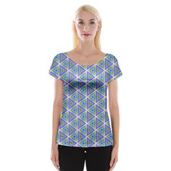 Colorful Retro Geometric Pattern Women s Cap Sleeve Top by DanaeStudio