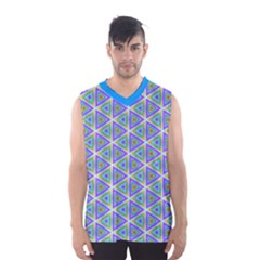 Colorful Retro Geometric Pattern Men s Basketball Tank Top by DanaeStudio