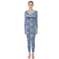 Colorful Retro Geometric Pattern Long Sleeve Catsuit by DanaeStudio