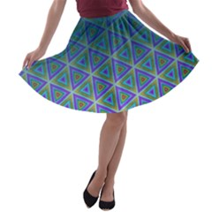 Ombre Retro Geometric Pattern A Line Skater Skirt by DanaeStudio