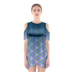Ombre Retro Geometric Pattern Women s Cutout Shoulder One Piece by DanaeStudio