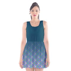 Ombre Retro Geometric Pattern Scoop Neck Skater Dress by DanaeStudio