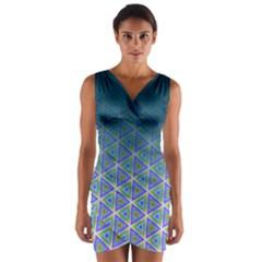 Ombre Retro Geometric Pattern Wrap Front Bodycon Dress by DanaeStudio