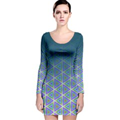 Ombre Retro Geometric Pattern Long Sleeve Velvet Bodycon Dress by DanaeStudio