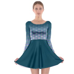 Ombre Retro Geometric Pattern Long Sleeve Skater Dress by DanaeStudio