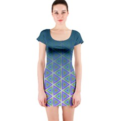 Ombre Retro Geometric Pattern Short Sleeve Bodycon Dress by DanaeStudio
