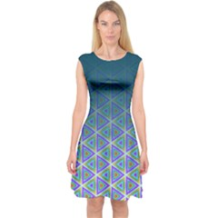 Ombre Retro Geometric Pattern Capsleeve Midi Dress by DanaeStudio