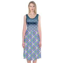 Ombre Retro Geometric Pattern Midi Sleeveless Dress by DanaeStudio