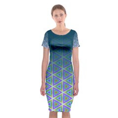 Ombre Retro Geometric Pattern Classic Short Sleeve Midi Dress by DanaeStudio