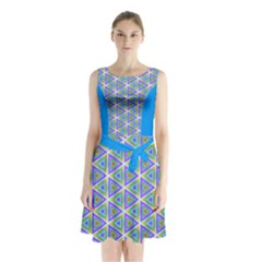 Colorful Retro Geometric Pattern Sleeveless Chiffon Waist Tie Dress by DanaeStudio