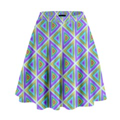 Colorful Retro Geometric Pattern High Waist Skirt by DanaeStudio