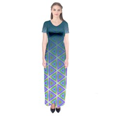 Ombre Retro Geometric Pattern Short Sleeve Maxi Dress by DanaeStudio