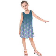 Ombre Retro Geometric Pattern Kids  Sleeveless Dress by DanaeStudio