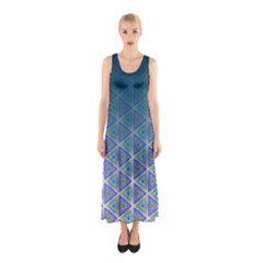 Ombre Retro Geometric Pattern Sleeveless Maxi Dress by DanaeStudio