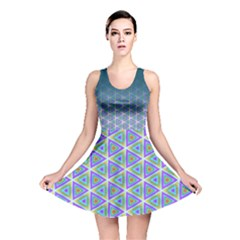 Ombre Retro Geometric Pattern Reversible Skater Dress by DanaeStudio