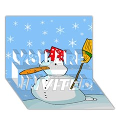Snowman You Are Invited 3d Greeting Card (7x5) by Valentinaart