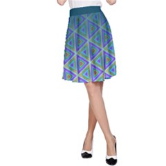 Ombre Retro Geometric Pattern A Line Skirt by DanaeStudio