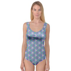 Colorful Retro Geometric Pattern Princess Tank Leotard  by DanaeStudio