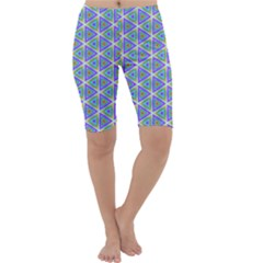 Colorful Retro Geometric Pattern Cropped Leggings  by DanaeStudio